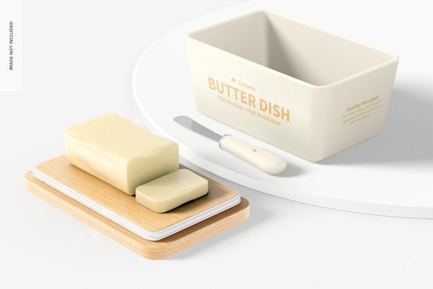 Butterdose aus keramik mit bambusdeckelmodell, perspektive