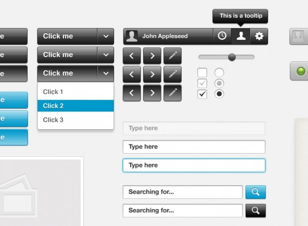 Buttons dropdown-elemente bearbeitet eingänge schnittstelle orb papierstapel optionsfeld suche glänzenden schieber stapel tooltip ampel