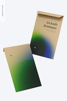C4 kraft envelopes mockup, falling