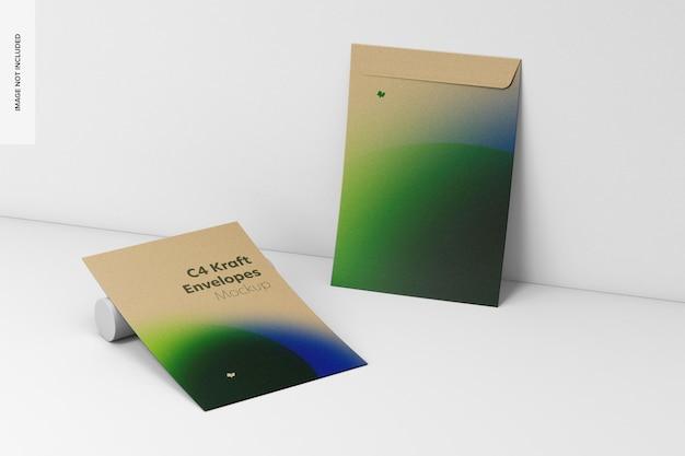 C4 kraft envelopes mockup