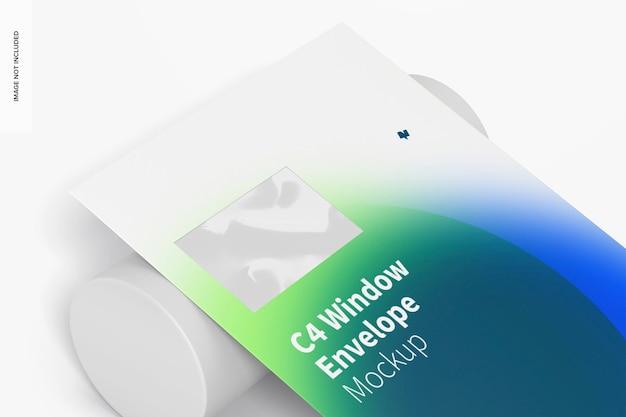 C4 window envelope mockup, nahaufnahme