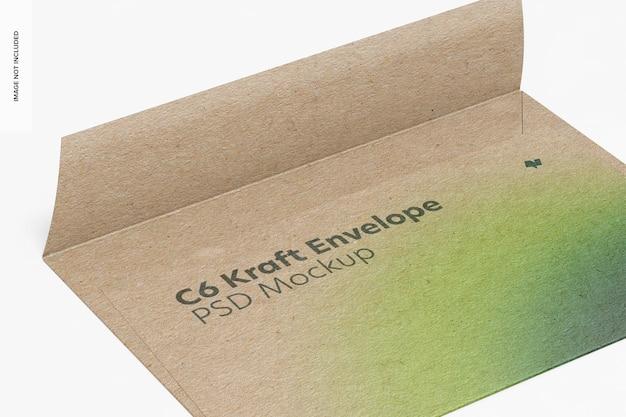 C6 kraft envelope mockup, nahaufnahme
