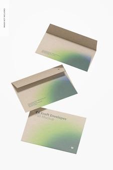 C6 kraft envelopes mockup, floating