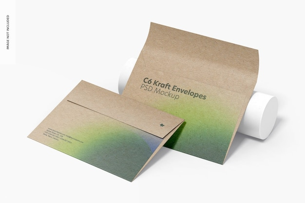 C6 kraft envelopes mockup, perspektive