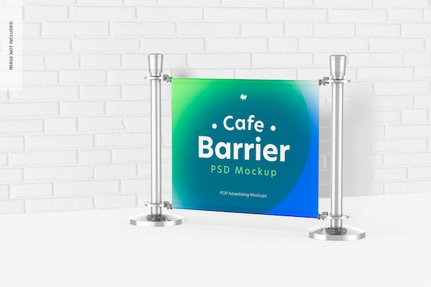 Cafe barrier mockup, ansicht von links