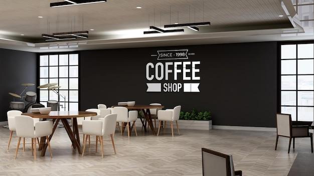 Café-logo-modell im restaurantraum mit innenwand im holzdesign