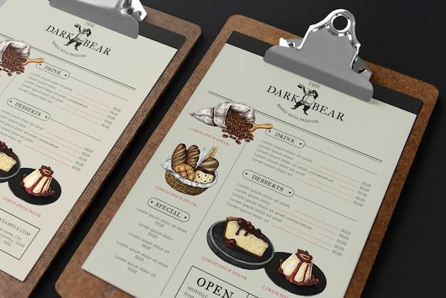 Café-menü mit bildern mockup psd auf zwischenablage corporate identity design
