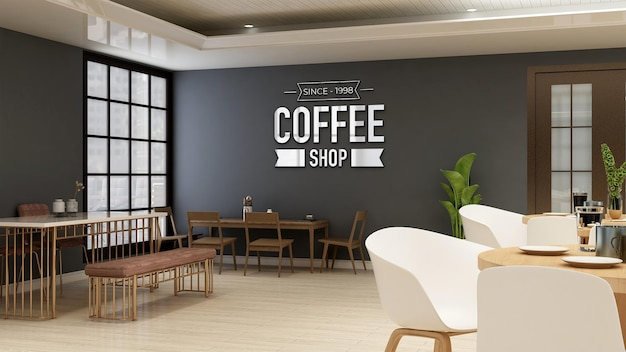 Café- oder restaurant-logo-modell im café mit tisch und schreibtisch