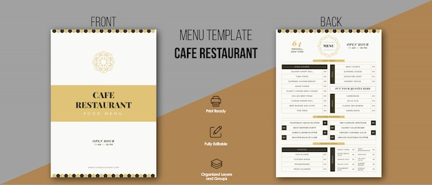 Cafe restaurant menüvorlage