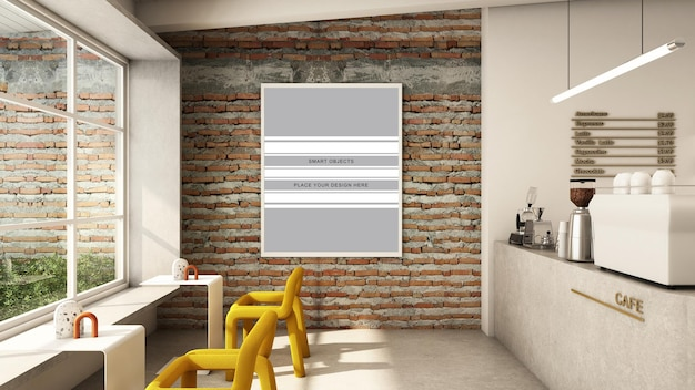 Café-shop-design minimalistisch und loft 3d-rendering