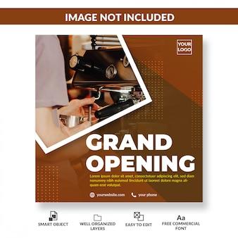 Cafe shop feierliche eröffnung social media flyer square