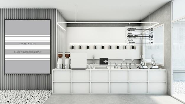 Café-shop restaurant-design moderner und minimaler weißton 3d-rendering