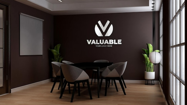 Café-wand-logo-mockup im café- oder restaurant-konferenzraum
