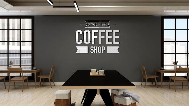 Café-wand-logo-modell im modernen café oder café?