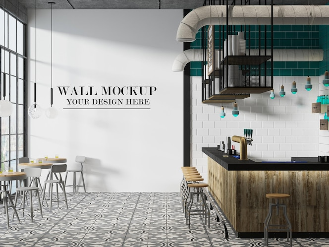 Cafeteria-wandmodell in 3d-rendering