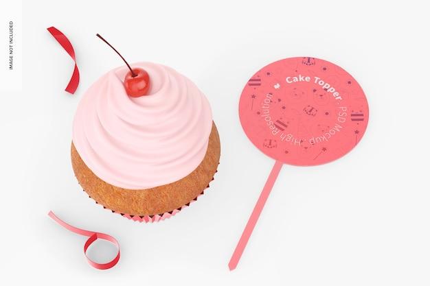 Cake topper mit cupcake mockup