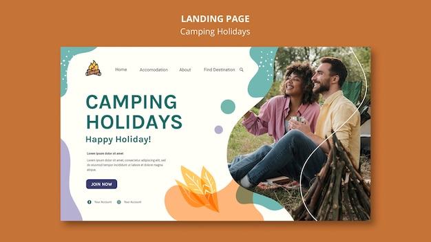 Camping urlaub landingpage vorlage