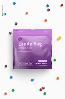 Candy bag mockup, ansicht von oben