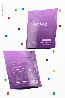 Candy bags mockup, schwimmend