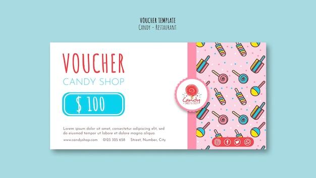 Candy shop vorlage für gutschein