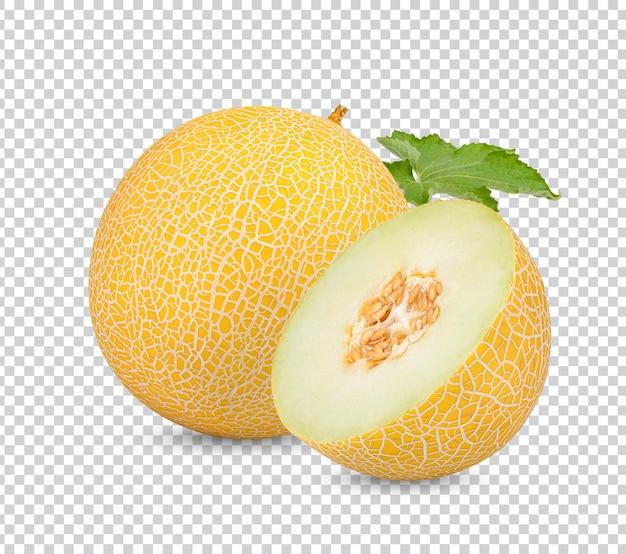 Cantaloupe mit blättern isoliert