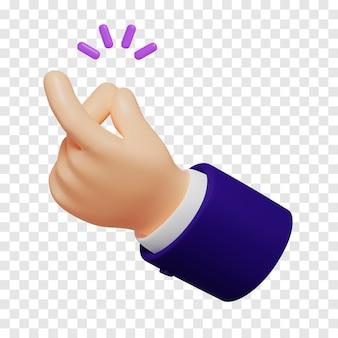 Cartoon-hand mit dunkelblauen ärmeln, die eine schnappgeste mit einem violetten klang heller hautfarbe zeigen, isoliert