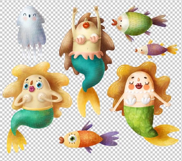 Cartoon meerjungfrauen und fische gesetzt