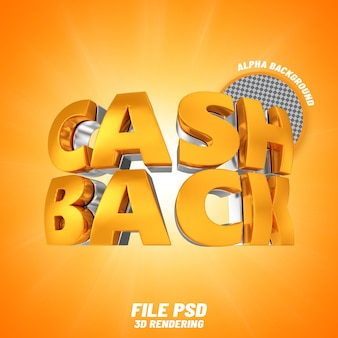 Cashback-text 3d-rendering banne