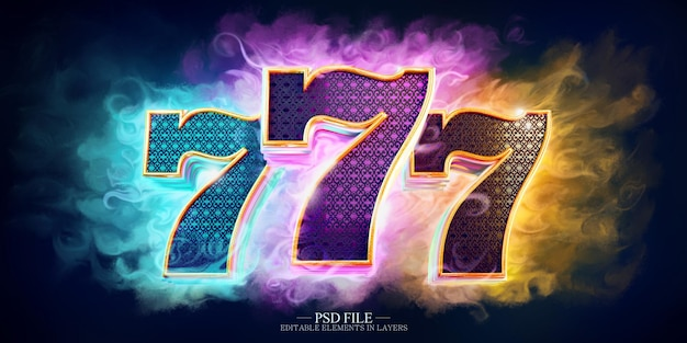 Casino-zeichen mit hellen farben mit 3d-zahlen