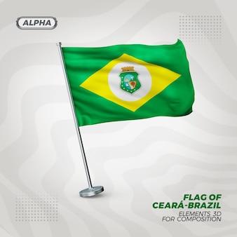 Ceara realistische 3d strukturierte flagge für komposition