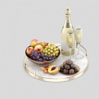 Champagner mit früchten und süßigkeiten