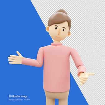 Charakter-3d-darstellung der frau, die willkommene pose-geste tut.