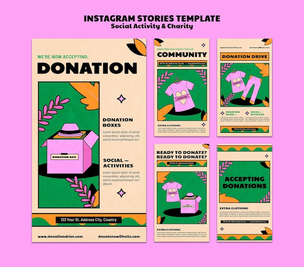 Charity donation instagram story template design