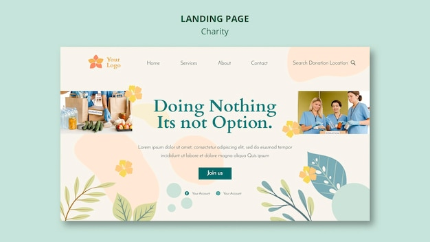 Charity landing page design
