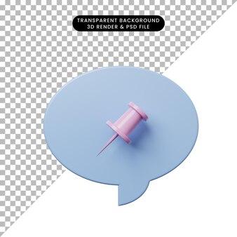 Chat-blase der illustration 3d mit papierstift