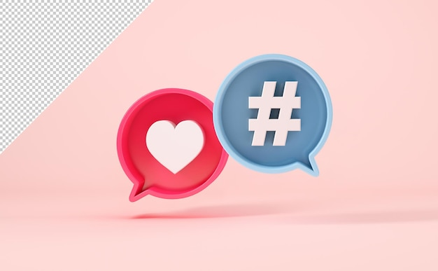 Chat-blasen mit ähnlichem symbol und hashtag, mock-up