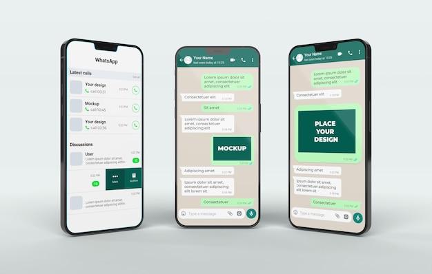 Chat-mockup mit smartphone-sortiment