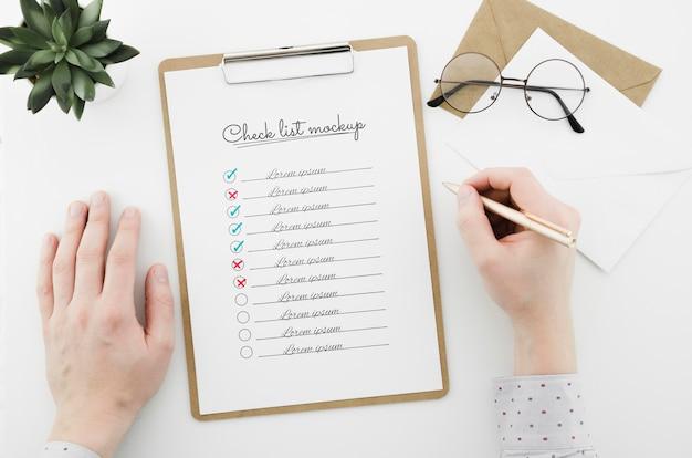 Checkliste der draufsicht mit modell