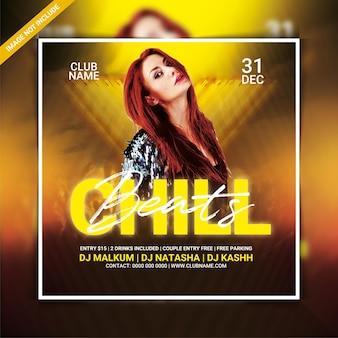 Chill beats dj party flyer vorlage