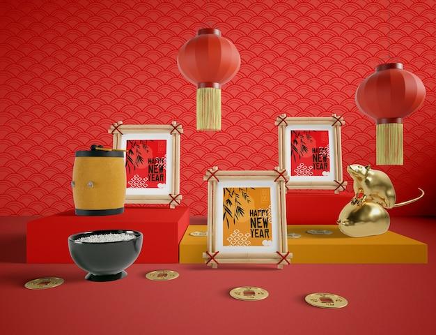 Chinesische art der guten rutsch ins neue jahr-illustration