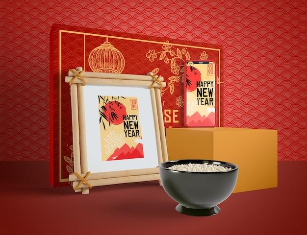 Chinesische illustration des neuen jahres mit einer schüssel reis