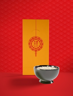 Chinesische illustration des neuen jahres mit köstlicher schüssel reis