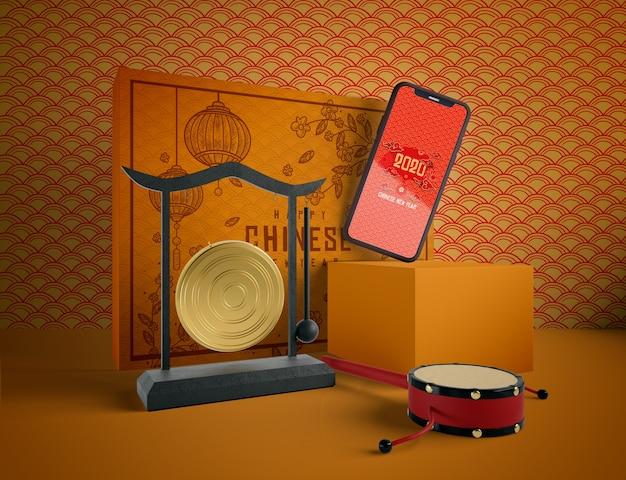 Chinesische illustration des neuen jahres mit telefonspott oben