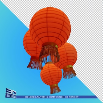 Chinesische laternen komposition 3d rendering