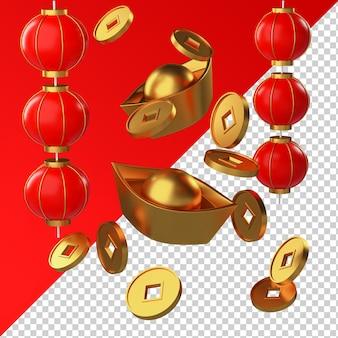 Chinesische neujahrsgoldmünze und laternenbarren isolierte transparentes 3d-rendering