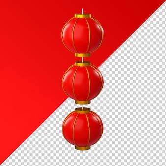 Chinesische neujahrslaterne isolierte transparentes 3d-rendering