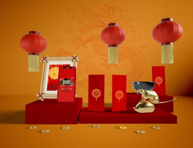 Chinesische traditionelle elemente des neuen jahres