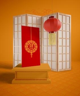 Chinesische traditionelle gegenstände mit grußkarte