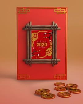Chinesisches neujahrsfest verziert mokc-up