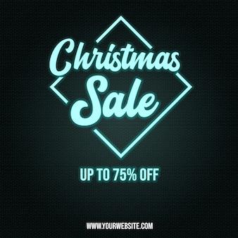 Chrismas sale poster banner in neon style-effekten